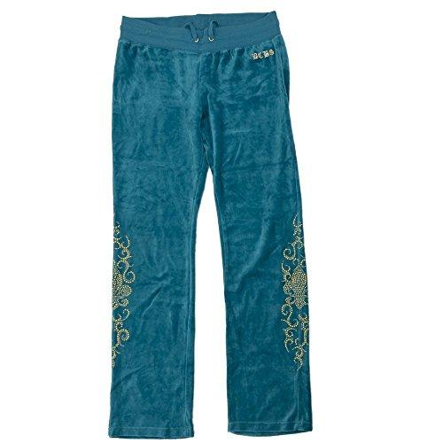 bcbgmaxazria-pantaloni-velluto-tempo-libero-pantaloni-da-jogging-da-donna-turchese-con-oro-ance-medi