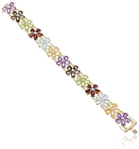 """Yellow Gold Plated Sterling Silver Multi-Gemstone Flower Bracelet, 7.25"""" by Amazon Curated Collection"""