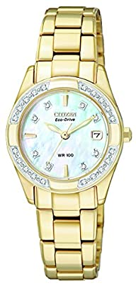 "CITIZEN ECO-DRIVE Women's EW1822-52D ""Regent"" Gold Tone Diamond-Accented Watch"