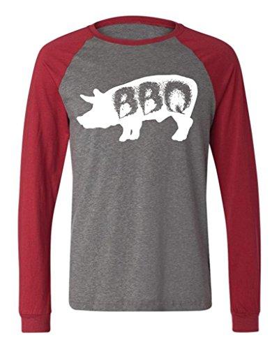 Pig BBQ Men'S Long Sleeve Baseball T-Shirt, Funny Barbecue Bar-B-Que Pig Design Baseball Shirt (Charcoal/Red, Small)