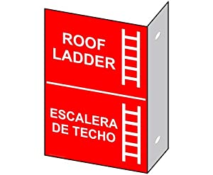 Amazon.com : Roof Ladder With Symbol Sign NHB-14008Proj Exit Roof