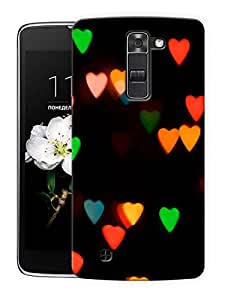 """Blurry Colorful Hearts Printed Designer Mobile Back Cover For """"LG K10"""" By Humor Gang (3D, Matte Finish, Premium Quality, Protective Snap On Slim Hard Phone Case, Multi Color)"""
