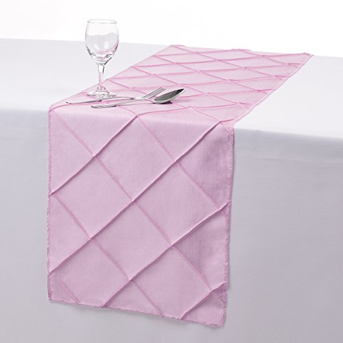 Remedios 12x108 Inch Pintuck Taffeta Table Runner Wedding Decoration Pink (Table Runner Pink compare prices)