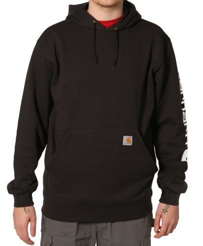 Carhartt K288 Sleeve Logo Sweatshirt Black Mens Hoodie Top