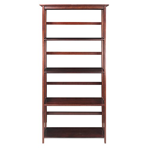 Casual Home 5-Tier Mission Style Bookcase, Walnut Mission Style 5 Shelf Bookcase