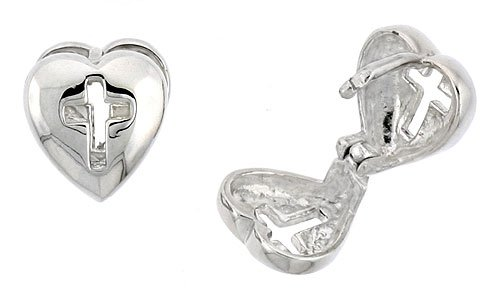 Sterling Silver Heart-shaped Huggie Earrings w/ Cross Cut-out, 3/8 inch (10 mm)