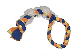 Large Dog Rope Tug/Pull- Real Rabbit Fur and Fleece-Visual, Taste and Smell Motivator (Orange Blue/Yellow)