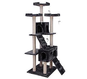songmics arbre chat griffoir niches 180cm beige pct53m. Black Bedroom Furniture Sets. Home Design Ideas