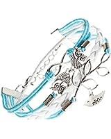 Charmant Bracelet Wrap Tendance Cuir Bleu et Corde Blanche Tressée Avec Charms - Feuille et Petit Poisson Argenté, 2 Hiboux Mignons & Signe Infini par VAGA©