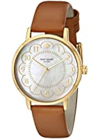 kate spade new york Women's 1YRU0835 Metro Gold-Tone Watch with Brown Leather Band