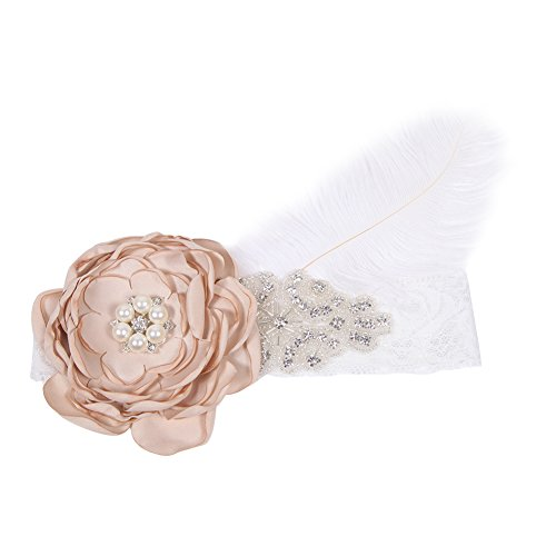 Evelin LEE Baby Vintage Cute Feather Headband Hair Hoops Wrap Rhinestone Flower (Vintage Head Wraps compare prices)
