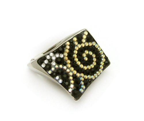 Swarovski Crystal Ring Cloud Design Silver Electroplated Size8