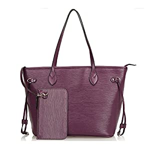 Kattee Women's Genuine Leather Tote Shoulder Bag with Small Clutch Purse