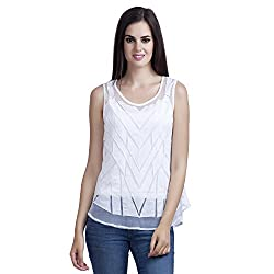 MansiCollections Women's Causal Solid White Top (XXX-Large)