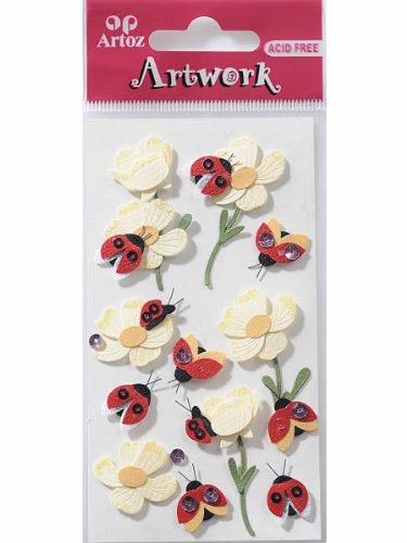 Art-Work Handmade Ladybird With Flowers