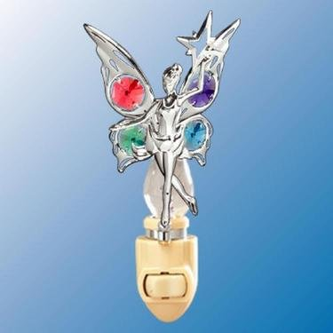 Chrome Fairy with Star Night Light - Multicolored Swarovski Crystal