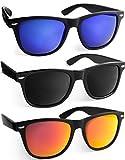 UVprotect® klassische Sonnenbrille in Hornbrillen Design verspiegelt - UV400 -