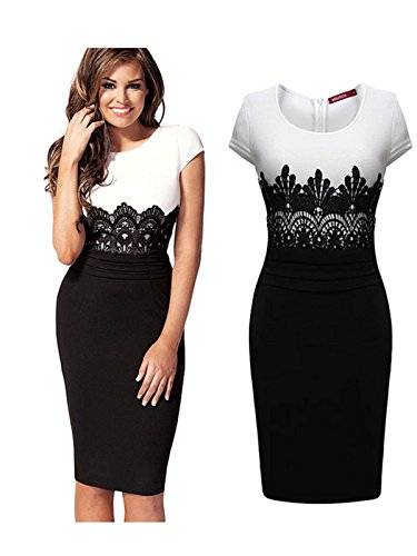 New Metal Buckle Bodycon Pencil Midi Party Dress (L, White And Black)