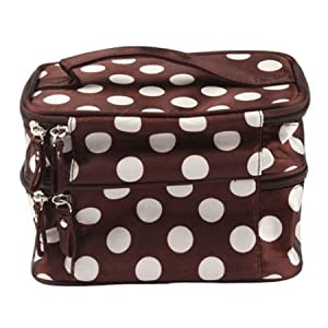 Unique Dots Pattern Double Layer Cosmetic Bag Brown