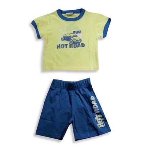 Mish - Little Boys Short Sleeve Knit Short Set, Yellow, Cadet Blue 16134-2T