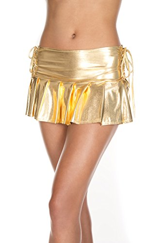 MUSIC LEGS Women's Metallic Pleated Mini Skirt with Side String Ties, Gold, One Size