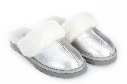 Cheap Sheep Touch Women's Twin-Face Australian Sheepskin Classic Slippers Bomber Silver (B009M810QE)