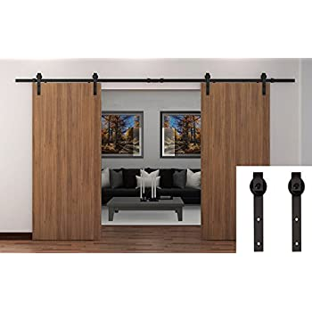 WBHome Country Barn Wood Steel Sliding Door Hardware Set Antique Style - Double Doors - 13 Ft Black