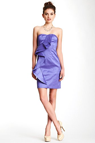 Jessica Simpson Asymmetrical Ruffle Sweetheart Dress 10 Blue Iris