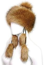 Futrzane Faux Fox Fur Winter Mongolian Hat Women Pompom Cossack for Ladies