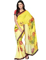 Dori Georgette Floral Printed Georgette Yellow Saree
