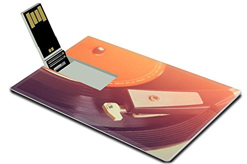Luxlady 4GB USB Flash Drive 2.0 Memory Stick Credit Card Size IMAGE ID: 34194137 close up image of old record player image is retro filtered selective focus (Old Fashion Turntable compare prices)