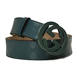 Gucci Interlocking GG Logo Teal Imprime Leather GG Logo Belt Size 40 Model 223891 FU49X