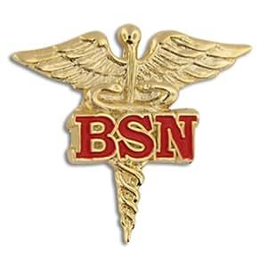 Bachelor of Science Nursing Red BSN Caduceus Lapel Pin