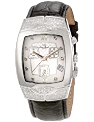 Lucien Piccard Women's 27067BK Chronograph Diamond Accented Black Leather Watch