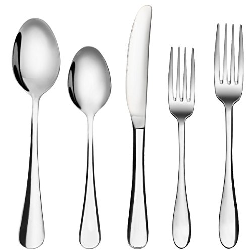Flatware Set, MCIRCO 5-Pieces Spoons Set 18/8 Heavy-Duty Stainless Steel Flatware Fork Spoon Knife Set with Dinner Spoons, Dinner Knife and Dinner Forks, Service for 1(Tableware Set) (Fork Knife And Spoon compare prices)