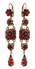 Michal Negrin Beautiful Dangle Earrings Ornate with Hand Painted Flowers, Red and Bordeaux Swarovski Crystals and Tear Drop Accent; Victorian Elegance