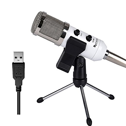 USB Condenser Mic Fifine Plug & Play Desktop Microphones For PC/Computer(Windows, Mac, Linux OX), Podcasting, Recording-White(K056) (White Condenser Mic compare prices)