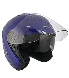 Hawk Blue Dual Visor Open Face Motorcycle Helmet - Large