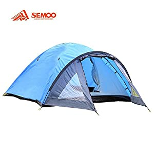 Semoo D-Shape Door, 3-4 Person, 4-Season Lightweight Family Camping/Traveling Tent with Compression Bag
