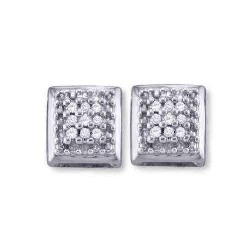 Micro Pave Genuine Diamond Stud Earrings Square Rhodium on Sterling Silver - 18 Total Diamonds