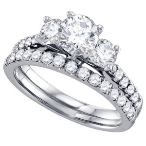 1/2 Carat Diamond 14k White Gold Three Stone Bridal Set Ring