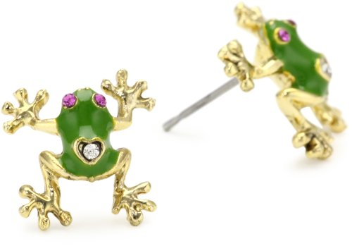 Betsey Johnson Green and Gold Frog Stud Earrings
