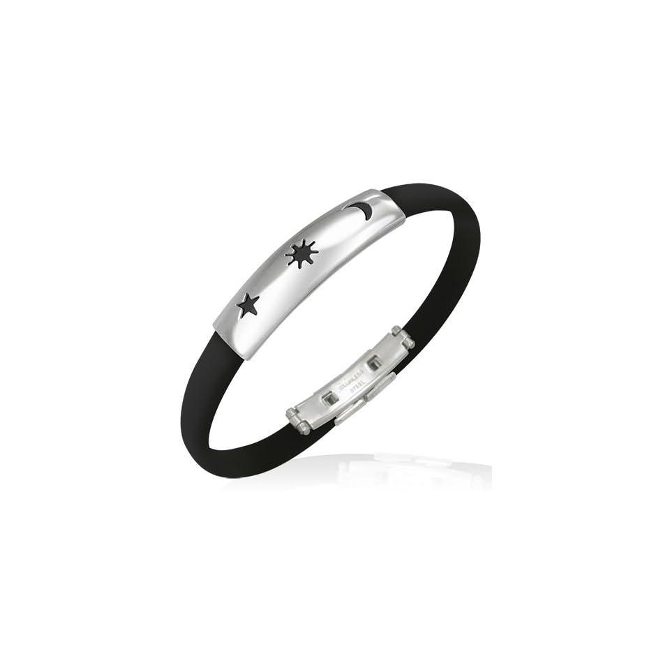 B345 B345 Stainless Steel Cut out Star Sun Emblem Half Moon Crescent Black Rubber Bracelet