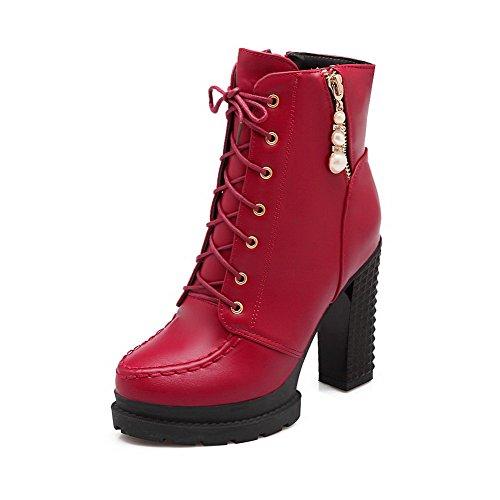 AgooLar Donna Luccichio Bassa Altezza Puro Cerniera Tacco Alto Stivali con Metallo, Rosso, 35