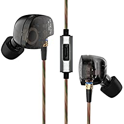 Bengoo In-Ear Wired 3.5mm HIFI Headphones Earphones Earbuds Headset with Microphone for iPhone iPad Android Phones Windows Phones MP3 MP4 and Tablets and for Running Sports - Carrier Packaging - Black