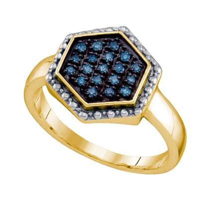 Sterling silver 0.18 Carat (ctw) Diamond Cluster Ladies Blue Diamond Ring