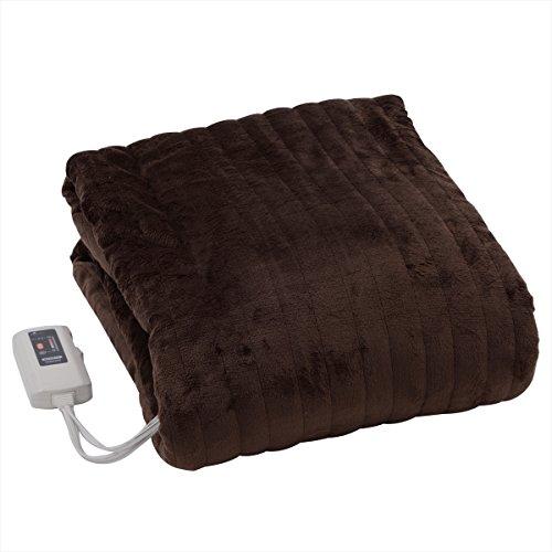 山善(YAMAZEN) ふわふわもこもこ 電気掛・敷毛布(188×130cm) 表面フランネル・裏面プードルタッチ仕上げ 室温センサー付 YMK-F43P(T)