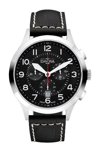Davosa Metropolitan Men's Quartz Watch with Black Dial Analogue Display and Black Leather Strap 16243456
