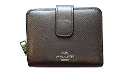 Coach Crossgrain Leather Medium Zip Around Wallet 52692 Pewter