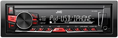 JVC KD-X220E Digital Media Receiver con USB e AUX Frontali, Nero/Rossa